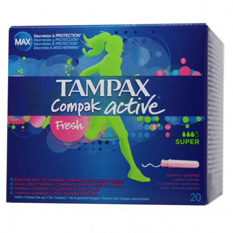 Tampax Compak Active Super.Droguería online,venta de productos de limpieza de las mejores marcas.Líderes en artículos de limpieza.