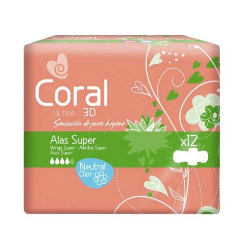 Compresas Coral Alas Super.Droguería online,venta de productos de limpieza de las mejores marcas.Líderes en artículos de limpieza.