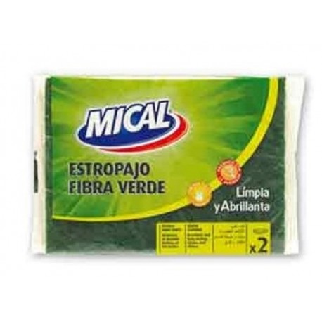 Estropajo fribra verde mical.Droguería online,venta de productos de limpieza de las mejores marcas.Líderes en artículos de limpieza.
