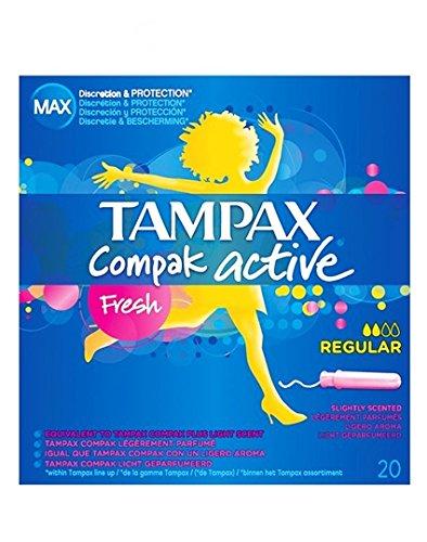 Tampax Compak Active Regular.Droguería online,venta de productos de limpieza de las mejores marcas.Líderes en artículos de limpieza.